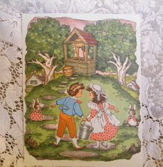 Jack and Jill  vintage nursery rhyme print by TreasuresFromTexas,