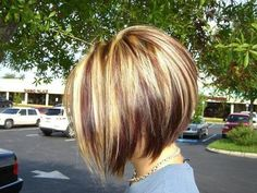 Like the hair cut and color Red Blonde and Brown Highlights with an Inverted Bob..