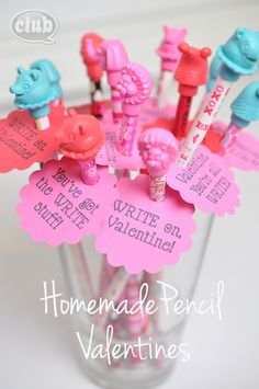 Homemade pencil Valentine craft for kids - super cute free printable included. Simply print out, punch or cut out tags, attach to pencil, and add cute pencil topper. voila!