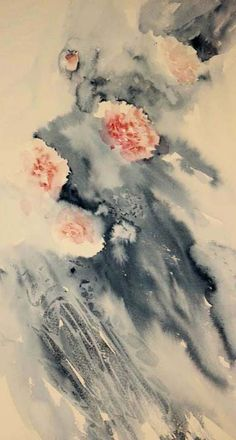 Carnations flowing in a loose watercolor with exciting watermarks and color effects evident within the composition.