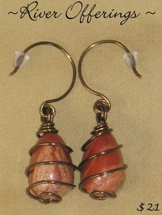 River Offerings Earrings  Red River Jasper Hand Made by Adourne, $18.00