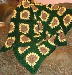 crochet sunflower afghan, crochet blanket, sunflow crochet, crochet pattern