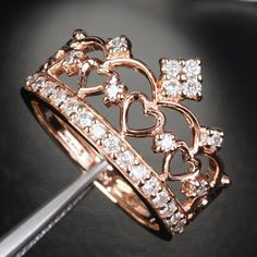 HEART CROWN .57ct  H/ SI Diamond Solid 14K Rose Gold Engagement Wedding Band Ring on Etsy, $822.00