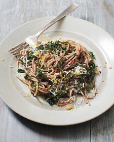 Spaghetti with Collard Greens and Lemon