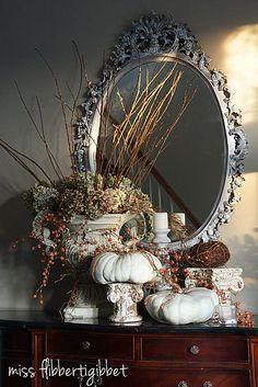 mirror, entry tables, vignett, decorating ideas, falldecor, fall decorations, fall decorating, autumn falls, white pumpkins