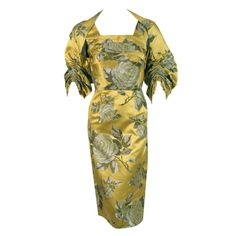 1950's Sophie Gimbel Chartreuse-Yellow Roses Floral-Print Satin Dress & Jacket