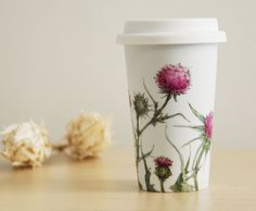 Ceramic Eco-Friendly Travel Mug - Thistles