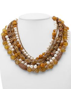 Stephen Dweck Bronze Pearl & Gemstone Necklace - interesting mix of gemstones and white and bronze pearls.