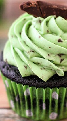 Chocolate Chip Mint Cupcakes Recipe ~ so simple to make yet are packed full of flavor with a moist chocolate cake topped with a whipped mint buttercream.