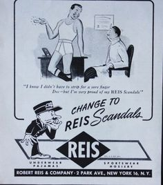 1940's REIS Men's Underwear-I'm Proud of my Scandals Print Ad