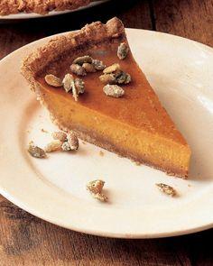 Pumpkin Pie with Graham Crust and Candied Pepitas Recipe