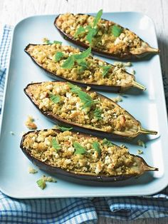 Stuffed aubergines with only 300 calories