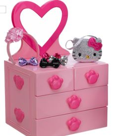 #Buildabear #Easter  Every fashionable Buildabear needs a place to store their clothes in! This pink dresser with mirror, and accessory kit (full of a cute Hello Kitty purse and fabulous bows) is something every Buildabear fashionista needs!  [Pink Dresser & Accessories Set--$43.50]