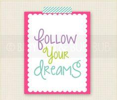 Follow Your Dreams - Kids Room Art - Baby Children Nursery Custom Wall Print Poster. $15.00, via Etsy.
