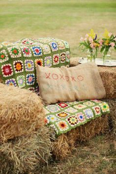 Great idea, HAY BALE SEATING, for cookouts, parties, and more