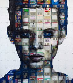 "portrait painted on canvas made entirely out of 3 1/2"" floppy disks by UK-based artist Nick Gentry"