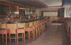 Manistique MI INTERIOR Homers Bar MOTTO -UPPER MICHIGANS FINEST- Pretty Plush and Wonderful 1940s Lake Michigan Town Watering Hole INTERIOR