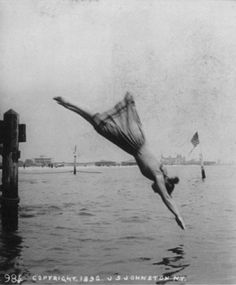 """This 1892 J. S. Johnston stereograph is titled """"Woman diving from pier"""" ....this is an awesome picture"""