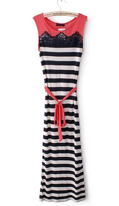Black White Striped Contrast Lace Sashes Dress
