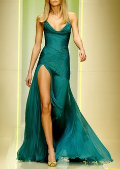Emerald pleated dress with cowl neckline, leg slit. JUST STUNNING