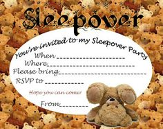 Boys - and girls - who love teddy bears might like this brilliant sleepober invitation featuring  a heap of them  - this free sleepover invite is blank so you can fill it with your own personal details including when and where the party is taking place and RSVP details.