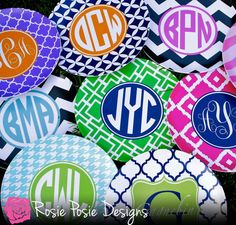 Monogrammed Melamine PlateDesign Your Own by rosieposiedesigns, $20.50