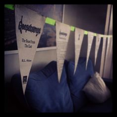 Bunting made from old Goosebumps books. Perfect for a Hallowe'en party!