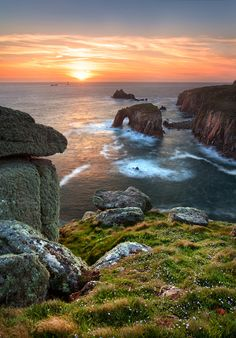 Land's End, Cornwall, United Kingdom.  Lovely picture.  For some reason I find this very romantic.
