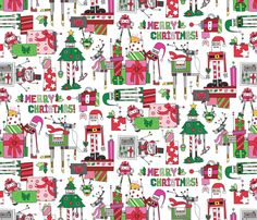 Oooh this would be a cute Robot Christmas fabric by urban_threads on Spoonflower - custom fabric