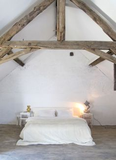 rustic bedrooms, attic bedrooms, upstairs bedroom, loft bedrooms, bedroom white, house interiors, lamp, french farm, barn houses