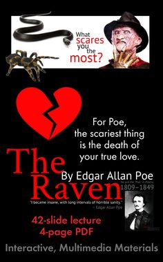 """Discover the Poe in Poetry with this dynamic lecture on """"The Raven"""" with close-reading questions and writing activity. Click here to get to know Edgar Allan Poe. (That's internal rhyme, folks!)"""