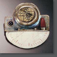 "Robert Dancik | ""Navigational Aide #42""  Sterling silver, carnelian, amethyst, old map, pvc-faux bone"