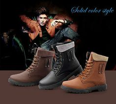 mens combat boots lace up military motorcycle snow winter casual ankle shoes #75