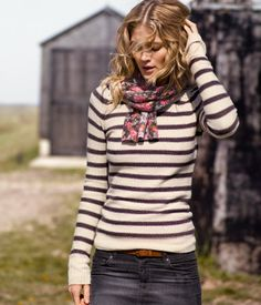 Striped sweater and floral scarf