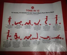 Pure Barre - shopping bag w. workout  Do each for 60 seconds for a 14 minute workout.
