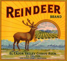 Reindeer Orange Crate Label.