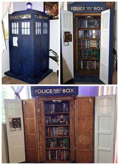 cabinets, diy geek tardis, tardi bookshelf, geek decor, nerd diy