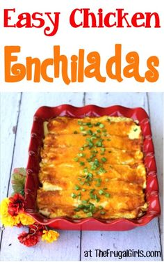Easy Chicken Enchiladas Recipe! ~ from TheFrugalGirls.com ~ this easy dinner recipe will have your family begging for an Enchilada! SO simple and delicious!! #recipes #thefrugalgirls