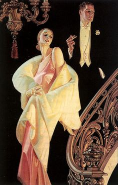 Couple Descending Staircase - J.C. Leyendecker, 1932