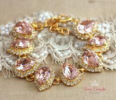 Blush Pink Bracelet Swarovski Rhinestone bracelet by iloniti