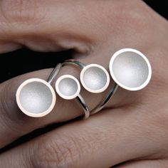 """Contemporary Jewelry handmade silver ring """" 4 cups white """""""