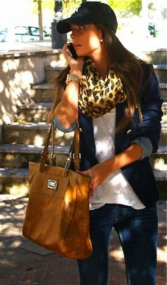 Leopard Print Scarf, Riding Boots and Nice Brown Handbag, Blue Jeans, Dark blue Jacket, Winter Outfits