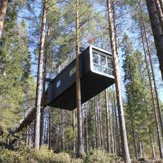 This tree-top hotel room by Swedish architects Cyrén & Cyrén is accessed via a bridge leading from the hilly forest to an entrance on the roof.