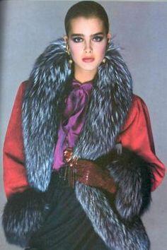 vogue, fashion, 1980, richard avedon, brook shield, silver foxes, fur, supermodel, brooke shields