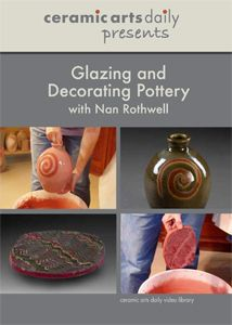 In this Ceramic Arts Daily Presents video, Nan Rothwell demonstrates the basics of glazing and decorating pots. In step-by-step demonstrations, Nan applies glaze by dipping, pouring, and spraying, and then shows a series of simple decorative techniques including tape and wax resist, under- and overglaze patterning, and brushwork.