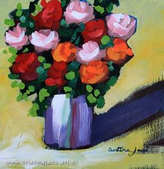 Real art can be affordable, and worth every penny! Original floral painting 12 x 12 by @cristinajaco