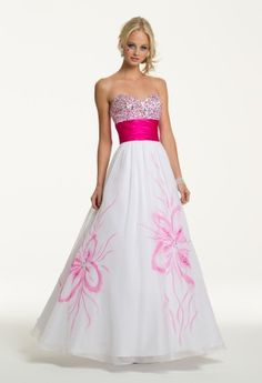 Prom Dresses 2013 - Long Strapless Empire Dress with Mirror Beads from Camille La Vie and Group USA