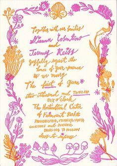 Here's an invite that breaks all the rules. | The 25 Most Beautifully Illustrated Wedding Invites