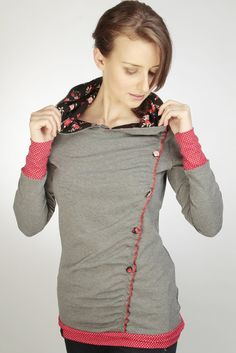 jersey hoodie  grey  flowers  dots by stadtkindpotsdam on Etsy, $65.00