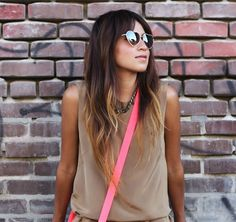 hair goal when styled straight... bringing back my bangs... neon + neutrals on Sincerely Jules http://www.sincerelyjules.com/